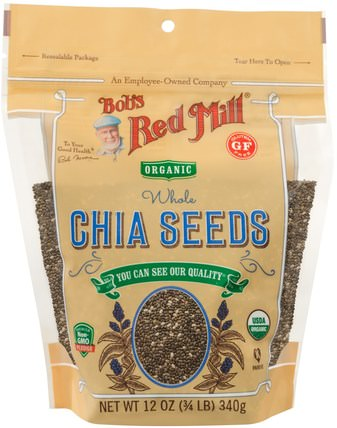 Oragnic Whole Chia Seeds, 12 oz (340 g) by Bobs Red Mill, 補充劑,efa omega 3 6 9(epa dha) HK 香港