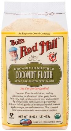 Organic High Fiber Coconut Flour, Gluten Free, 16 oz (453 g) by Bobs Red Mill, 食物,麵粉和混合物,椰子粉 HK 香港