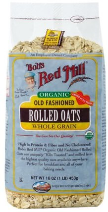 Organic Old Fashioned Rolled Oats, Whole Grain, 16 oz (453 g) by Bobs Red Mill, 食品,食品,燕麥燕麥片,穀類食品 HK 香港