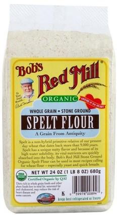 Organic Spelt Flour, Whole Grain, 24 oz (680 g) by Bobs Red Mill, 食物,麵粉和混合物 HK 香港