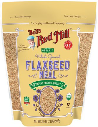 Organic Whole Ground Flaxseed Meal, 32 oz (907 g) by Bobs Red Mill, 補充劑,亞麻籽 HK 香港