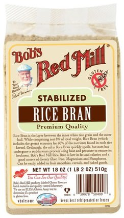 Stabilized Rice Bran, 18 oz (510 g) by Bobs Red Mill, 補品,米糠 HK 香港