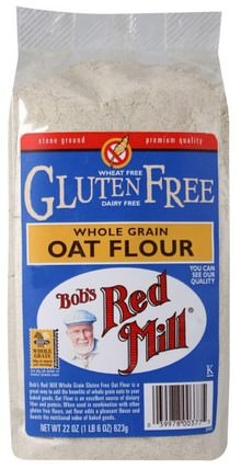 Whole Grain Oat Flour, Gluten Free, 22 oz (623 g) by Bobs Red Mill, 食物,麵粉和混合物 HK 香港