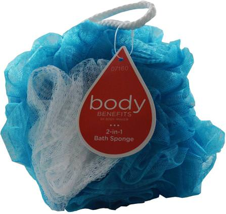 By Body Image, 2-in-1 Bath Sponge, 1 Sponge by Body Benefits, 洗澡,美容,沐浴海綿和刷子 HK 香港