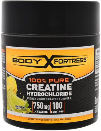 100% Pure Creatine HCL, Lemon-Lime, 3.52 oz (100 g) by Body Fortress, 運動,肌酸粉,運動 HK 香港