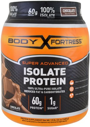 Super Advanced 100% Protein Isolate, Chocolate, 1.5 lbs (680 g) by Body Fortress, 補充劑,乳清蛋白,運動 HK 香港