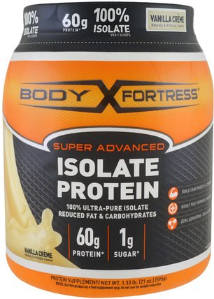 Super Advanced 100% Protein Isolate, Vanilla, 1.33 lbs (595 g) by Body Fortress, 補充劑,乳清蛋白,運動 HK 香港
