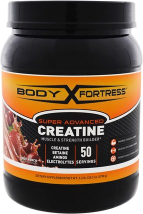 Super Advanced Creatine, Fruit Punch, 2.2 lbs (998 g) by Body Fortress, 運動,肌酸,補品,氨基酸 HK 香港