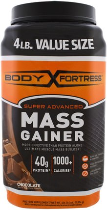 Super Advanced Mass Gainer, Chocolate, 4 lbs (1.814 g) by Body Fortress, 運動,運動,蛋白質 HK 香港