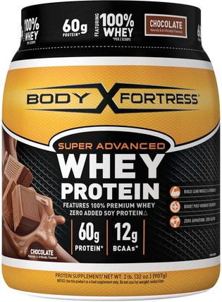 Super Advanced Whey Protein, Chocolate, 32 oz (907 g) by Body Fortress, 補充劑,乳清蛋白,運動 HK 香港