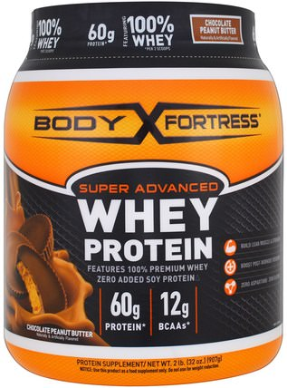 Super Advanced Whey Protein Powder, Chocolate Peanut Butter, 2 lbs (907 g) by Body Fortress, 運動,補品,乳清蛋白 HK 香港