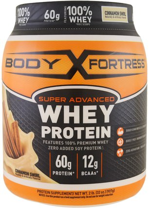 Super Advanced Whey Protein Powder, Cinnamon Swirl, 2 lbs (907 g) by Body Fortress, 補充劑,乳清蛋白,鍛煉 HK 香港