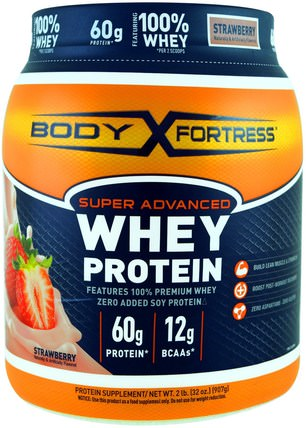 Super Advanced Whey Protein Powder, Strawberry, 2 lbs (907 g) by Body Fortress, 補充劑,乳清蛋白,運動 HK 香港