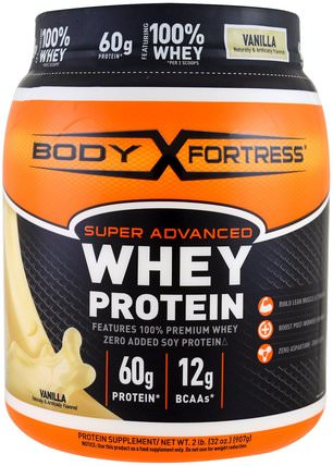 Super Advanced Whey Protein Powder, Vanilla, 2 lbs (907 g) by Body Fortress, 補充劑,乳清蛋白 HK 香港