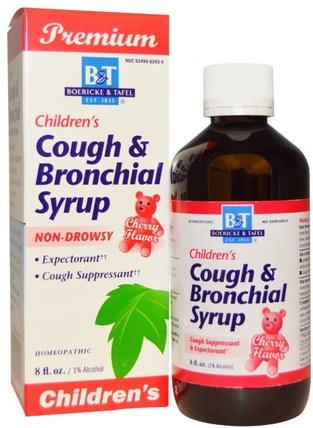 Premium Childrens Cough & Bronchial Syrup, Cherry Flavor, 8 fl oz by Boericke & Tafel, 兒童健康,感冒感冒咳嗽,順勢療法咳嗽感冒和流感 HK 香港