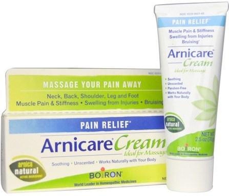 Arnicare Cream, Pain Relief, Unscented, 2.5 oz (70 g) by Boiron, 草藥,山金車蒙大拿,青紫,挫傷 HK 香港