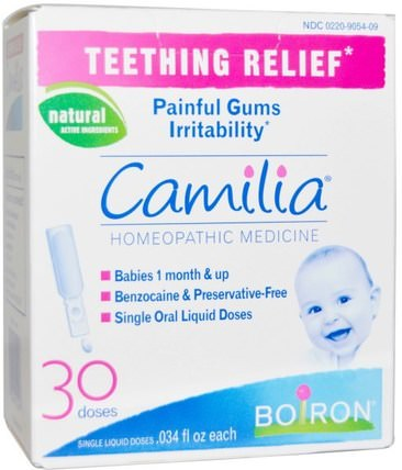 Camilia, Teething Relief, 30 Liquid Doses.034 fl oz Each by Boiron, 兒童健康,寶寶出牙,兒童 HK 香港