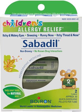 Childrens Sabadil, Allergy Relief, 2 Tubes, Approx. 80 Pellets Per Tube by Boiron, 補品,順勢療法,過敏,過敏 HK 香港
