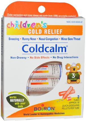 Coldcalm, Childrens Cold Relief, 2 Tubes, Approx 80 Pellets Per Tube by Boiron, 補品,順勢療法,感冒感冒咳嗽 HK 香港