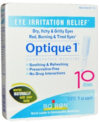 Optique 1, Eye Irritation Relief, 10 Doses, 0.013 fl oz Each by Boiron, 補品,順勢療法,眼部護理,視力保健,滴眼液 HK 香港