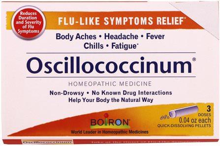 Boiron, Oscillococcinum, 3 Tubes, 0.04 oz Each 補品,順勢療法,感冒和流感,順勢療法咳嗽感冒和流感