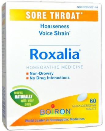 Roxalia, Sore Throat, 60 Quick-Dissolving Tablets by Boiron, 補品,順勢療法,感冒和病毒,喉嚨護理噴霧 HK 香港