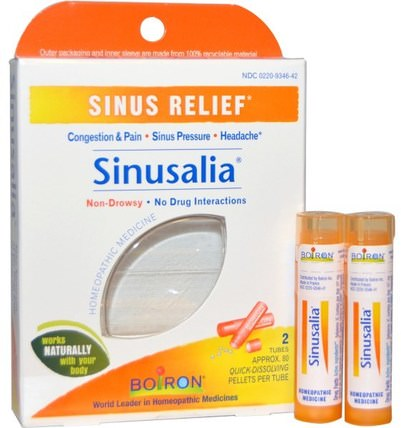 Sinusalia, Sinus Relief, 2 Tubes, Approx. 80 Quick-Dissolving Pellets Each by Boiron, 健康,鼻腔健康,鼻腔,鼻竇和過敏 HK 香港