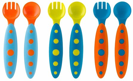 Modware, Toddler Utensils, 9 + Months, Blue, 6 Piece Set by Boon, 兒童健康,兒童食品,廚具,餐具勺子叉子 HK 香港