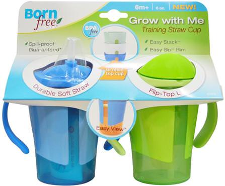 Grow With Me Training Straw Cup, Blue and Green, 2 Pack, 6 oz Each by Born Free, 家庭,廚具,杯碟碗,兒童健康,嬰兒餵養,吸管杯 HK 香港
