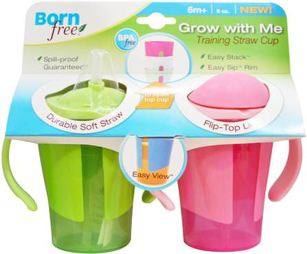 Born Free, Grow with Me, Training Straw Cup, Green and Pink, 2 Pack, 6 oz Each 家庭,廚具,杯碟碗,兒童健康,嬰兒餵養,吸管杯