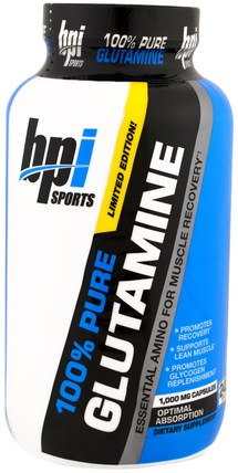 BPI Sports, 100% Pure Glutamine, Limited Edition, Essential Amino For Muscle Recovery, 1.000 mg, 240 Capsules 運動,補品,氨基酸