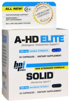 A-HD Elite, Solid, 2 Bottles, 30 Capsules Each by BPI Sports, 健康,男性,Bpi體育力量和力量,睾丸激素 HK 香港