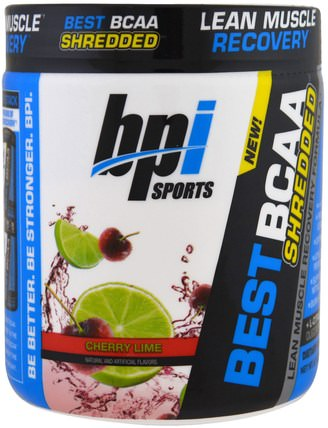 Best BCAA Shredded, Lean Muscle Recovery Formula, Cherry Lime, 9.7 oz (275 g) by BPI Sports, 補充劑,氨基酸,bcaa(支鏈氨基酸) HK 香港
