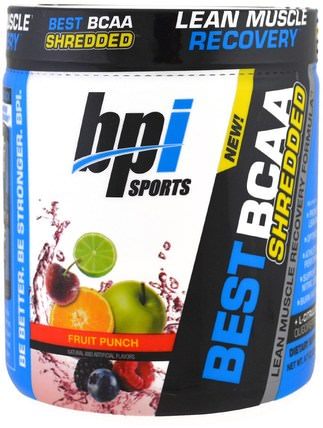 Best BCAA Shredded, Lean Muscle Recovery Formula, Fruit Punch, 9.7 oz (275 g) by BPI Sports, 運動,補品,bcaa(支鏈氨基酸) HK 香港