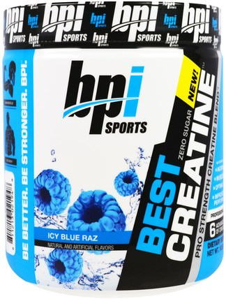 Best Creatine Pro Strength Creatine Blend, Icy Blue Raz, 10.58 oz (300 g) by BPI Sports, 運動,肌酸,鍛煉 HK 香港