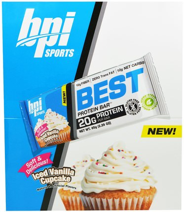Best Protein Bars, Iced Vanilla Cupcake, 12 Bars, 2.29 oz (65 g) Each by BPI Sports, 減肥,飲食,運動 HK 香港