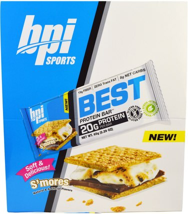 Best Protein Bars, SMores, 12 Bars, 2.29 oz (65 g) Each by BPI Sports, 運動,蛋白質棒 HK 香港