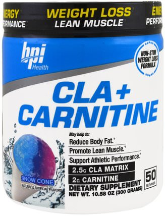 CLA + Carnitine, Snow Cone, 10.58 oz (300 g) by BPI Sports, 減肥,飲食,cla(共軛亞油酸) HK 香港
