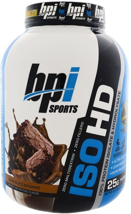 ISO HD, 100% Whey Protein Isolate & Hydrolysate, Chocolate Brownie, 5.4 lbs (2.466 g) by BPI Sports, 補充劑,乳清蛋白,bpi運動力量和力量 HK 香港