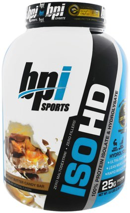 ISO HD, 100% Whey Protein Isolate & Hydrolysate, Peanut Butter Candy Bar, 5.3 lbs (2.398 g) by BPI Sports, 補充劑,乳清蛋白,bpi運動力量和力量 HK 香港