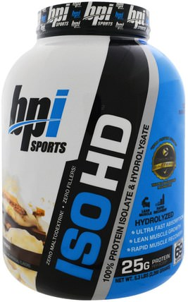 BPI Sports, ISO HD, 100% Whey Protein Isolate & Hydrolysate, SMores, 5.3 lbs (2.398 g) 運動,運動,蛋白質,運動蛋白質