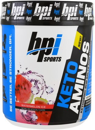 Keto Aminos, Ketoogenic BHB Salts And Aminos, Watermelon Ice, 1.32 lbs (600 g) by BPI Sports, 食物,酮友好,氨基酸,bcaa(支鏈氨基酸) HK 香港