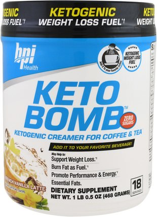 Keto Bomb, Ketogenic Creamer For Coffee & Tea, French Vanilla Latte, 1 lbs 0.5 oz (468 g) by BPI Sports, 減肥,飲食,食物,酮友好 HK 香港