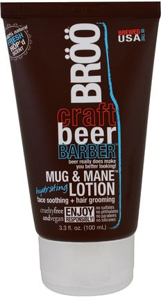 Crafted Beer Barber, Mug & Mane Hydrating Lotion, Fresh Scent, 3.3 fl oz (100 ml) by BR, 美容,男士護膚,面部護理,spf面部護理 HK 香港
