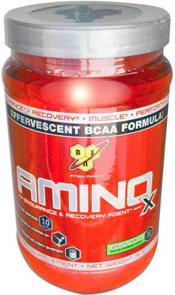 Amino X, Effervescent BCAA Formula, Green Apple, 15.3 oz (435 g) by BSN, 補充劑,氨基酸,bcaa(支鏈氨基酸),運動,運動 HK 香港