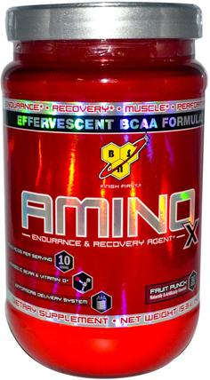 Amino-X, Endurance & Recovery Agent, Fruit Punch, 15.3 oz (435 g) by BSN, 補充劑,氨基酸,bcaa(支鏈氨基酸),運動,運動 HK 香港