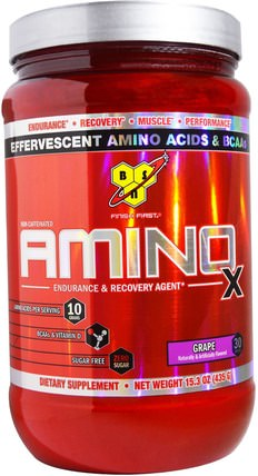 Amino-X, Endurance & Recovery Agent, Grape, 15.3 oz (435 g) by BSN, 運動,鍛煉,運動 HK 香港