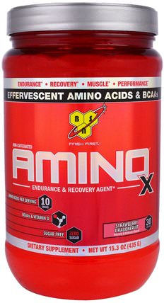 Amino-X, Endurance & Recovery Agent, Strawberry Dragonfruit, 15.3 oz (435 g) by BSN, 補充劑,氨基酸,肌肉 HK 香港