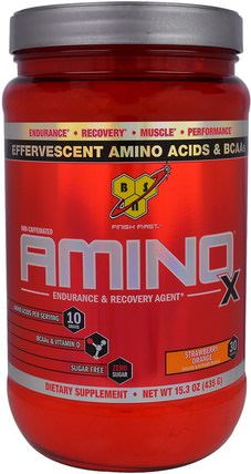 Amino-X, Endurance & Recovery Agent, Strawberry Orange, 15.3 oz (435 g) by BSN, 補充劑,氨基酸,運動 HK 香港