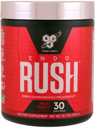 Endorush, Pre-Workout, Fruit Punch, 13.7 oz (390 g) by BSN, 健康,精力 HK 香港